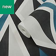 GoodHome Plantago Navy Blue & Taupe Modern Geometric Wallpaper