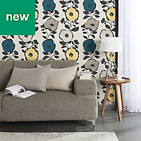 GoodHome Luzul Blue, taupe & yellow Floral Wallpaper