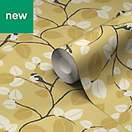GoodHome Mahot Yellow Modern Wallpaper