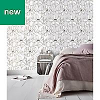 GoodHome Filago Lilac Floral Wallpaper