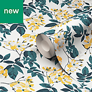 Ikok Teal & yellow Floral Smooth Wallpaper