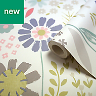 Tamus Cream, teal & yellow Floral Smooth Wallpaper