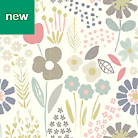 Tamus Cream, Teal & Yellow Floral Wallpaper