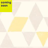 GoodHome Gileni Light grey & yellow Geometric Border
