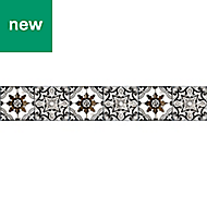GoodHome Richi Charcoal Tile effect Border