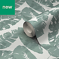 GoodHome Scolyme Green Palm Metallic Effect Wallpaper