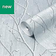 GoodHome Obetia Teal Tree Metallic effect Textured Wallpaper