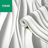 GoodHome Kobresia White 3D effect Wallpaper