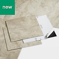 GoodHome Poprock Beige Marble effect Self adhesive Vinyl tile, 1.3m² Pack