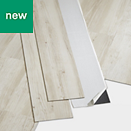 GoodHome Poprock Rustic white Wood effect Self adhesive Vinyl plank, 1.11m² Pack