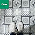 GoodHome Poprock Black & white Mosaic effect Self adhesive Vinyl tile, 1.3m² Pack