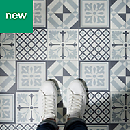 GoodHome Poprock Black & white Mosaic effect Self adhesive Vinyl tile, 1.3m² Pack
