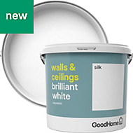 GoodHome Brilliant white Silk Vinyl emulsion paint 5L
