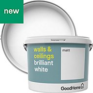GoodHome Brilliant white Matt Vinyl emulsion paint 10L