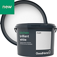 GoodHome Kitchen Brilliant white Matt Emulsion paint 2.5L
