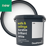 GoodHome Durable White Silk Emulsion paint 5L