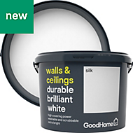 GoodHome Durable Brilliant white Silk Emulsion paint 10L