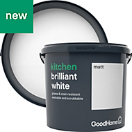 GoodHome Kitchen Brilliant white Matt Emulsion paint 5L
