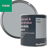 GoodHome Durable Bronx Matt Cabinet & wardrobe paint 750ml