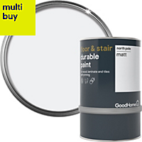 GoodHome Durable North Pole (Brilliant White) Matt Floor & stair paint 0.75L