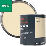GoodHome Durable Toronto Satin Multi-surface paint 750ml