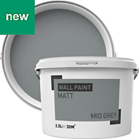 Mid grey Matt Emulsion paint 2.5L