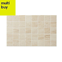 Travertina Beige Gloss Stone effect Ceramic Wall tile of 15, (L)400mm (W)250mm