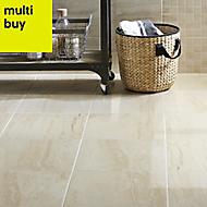 Travertina Beige Gloss Stone effect Ceramic Wall tile of 15, (L)400mm (W)250mm