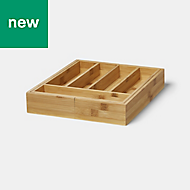 GoodHome Datil Bamboo Cutlery tray, (H)60mm (W)425mm