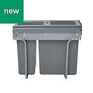 GoodHome Vigote Anthracite Metal & plastic Rectangular Integrated Pull-out kitchen bin, 26L