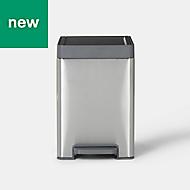 GoodHome Kora Brushed Anthracite Metal & plastic Pedal bin, 14L