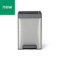 GoodHome Kora Brushed Anthracite Metal & plastic Pedal bin, 14L