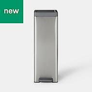 GoodHome Kora Brushed Anthracite Metal & plastic Pedal bin, 30L