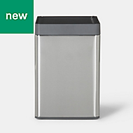 GoodHome Kora Brushed Anthracite Metal & plastic Touch bin, 15L
