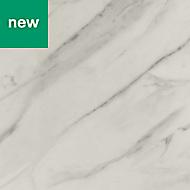 0.5mm Algiata Matt White Marble effect Laminate Post-formed Kitchen Worktop, (L)160mm