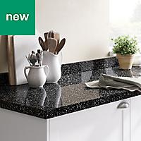 GoodHome 38mm Berberis Gloss Black Star effect Laminate Square edge Kitchen Worktop, (L)3000mm
