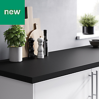 38mm GoodHome Berberis Black Matt Laminate Worktop (L)3m (D)620mm