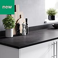 22mm Algiata Matt Grey Stone effect Laminate & particle board Post-formed Kitchen Breakfast bar Worktop, (L)2000mm
