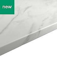 22mm Algiata Matt White Marble effect Laminate Post-formed Kitchen Breakfast bar Worktop, (L)2000mm