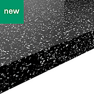 38mm Berberis Gloss Black Star effect Laminate Square edge Kitchen Breakfast bar Worktop, (L)2000mm