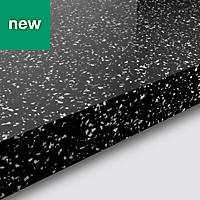 38mm Berberis Gloss Black Star effect Laminate Square edge Kitchen Breakfast bar Worktop, (L)2000mm