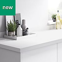 38mm Berberis Super matt White Laminate & particle board Square edge Kitchen Worktop, (L)3000mm
