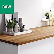 27mm GoodHome Kava Natural Matt Solid timber Worktop (L)3m (D)620mm