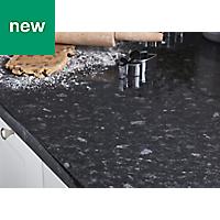 38mm Kabsa Gloss Black Granite effect Laminate Post-formed Kitchen Worktop, (L)3000mm