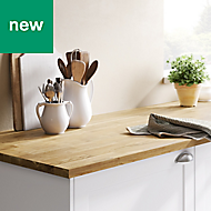 26mm GoodHome Kava Natural Matt Solid timber Worktop (L)3m (D)620mm