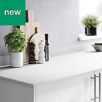 12mm Nepeta Matt White Stone effect Laminate Square edge Kitchen Worktop, (L)3000mm