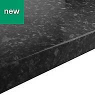38mm Kabsa Gloss Black Granite effect Laminate Round edge Kitchen Breakfast bar Worktop, (L)2000mm