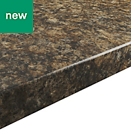 38mm Umbria Gloss Stone effect Chipboard & laminate Post-formed Kitchen Breakfast bar, (L)2000mm