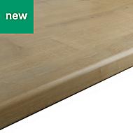 28mm Matt Oak effect Laminate Post-formed Kitchen Worktop, (L)2400mm