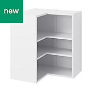 GoodHome Caraway Matt White Corner Wall cabinet, (W)630mm